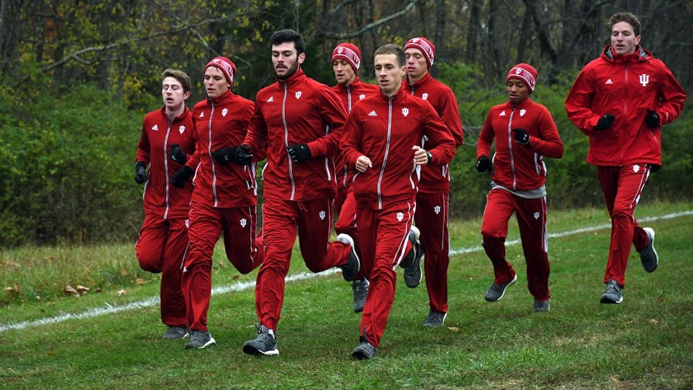 The IU men's cross-country team warms up before its race in the Big Ten Cross Country Championships on Oct. 29, 2017, at the IU Championship Cross Country Course. IU will race in Illini Open this weekend.