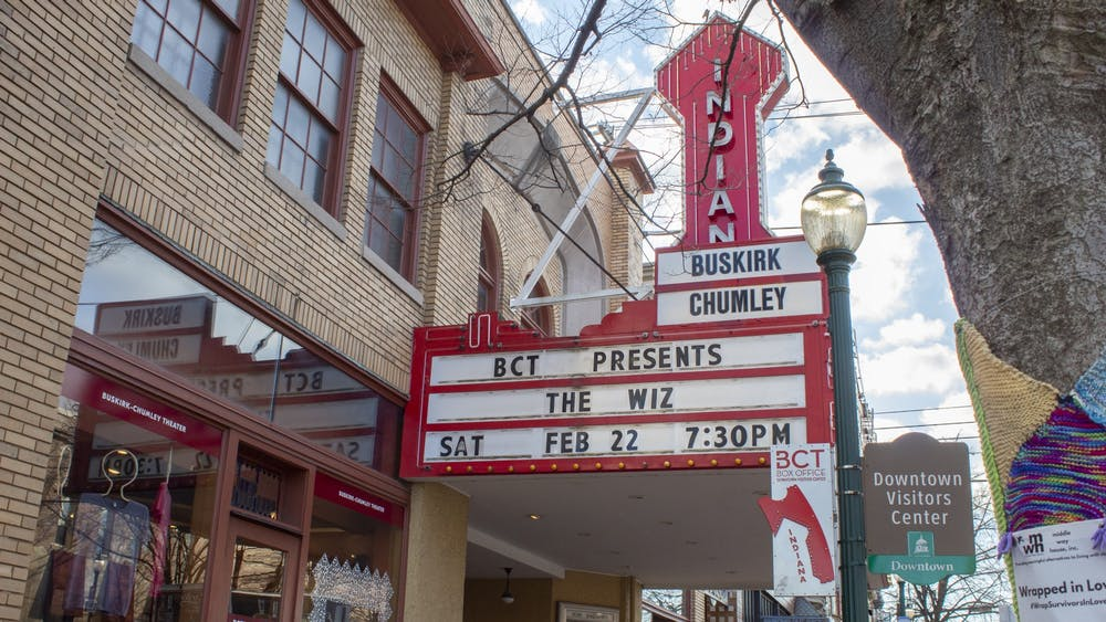 A sign for the Buskirk-Chumley Theater hangs Feb. 20 on Kirkwood Avenue. The theater will be closed through May 10 due to concerns surrounding the coronavirus, according to a statement release Tuesday.