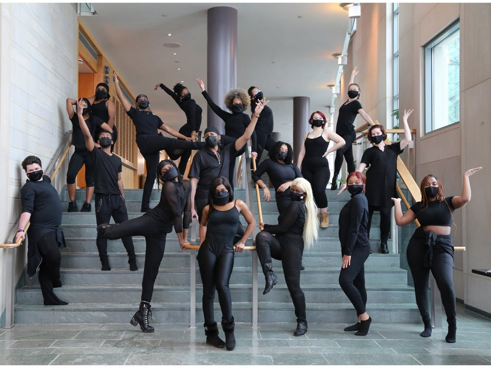 The IU African American Dance Company poses for a promotional photo.  The AADC will livestream their 47th annual spring concert  Saturday.