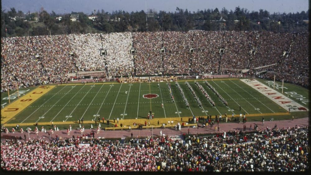The crowd at the 1968 Rose Bowl is seen in Pasadena, California.