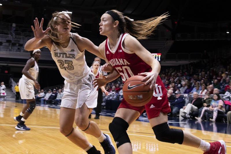 Senior Brenna Wise tries to get by a Butler University defender Dec. 11 at Hinkle Fieldhouse in Indianapolis. No. 12 IU beat Butler 64-53.