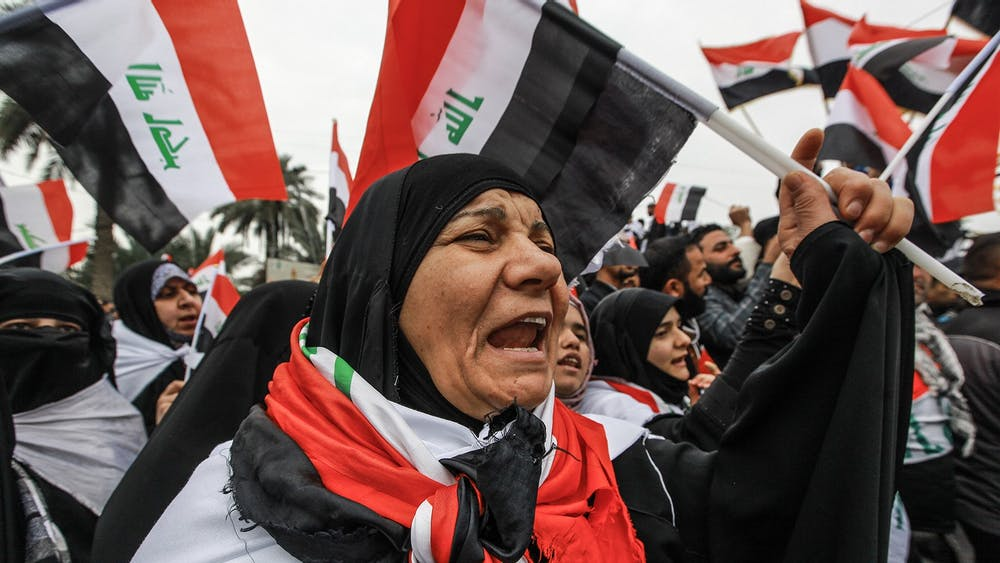 Iraqis gathered Jan. 24 in Baghdad, the capital of Iraq, to protest against the presence of U.S. troops.
