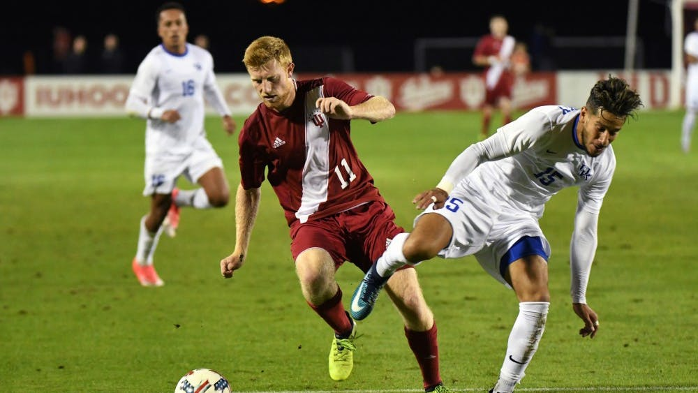 Then-junior, now senior midfielder Cory Thomas dribbles the ball against Kentucky Oct. 11, 2017 at Bill Armstrong Stadium. No. 2 IU travels to Lexington, Kentucky on Wednesday to take on the No. 5-ranked Wildcats.