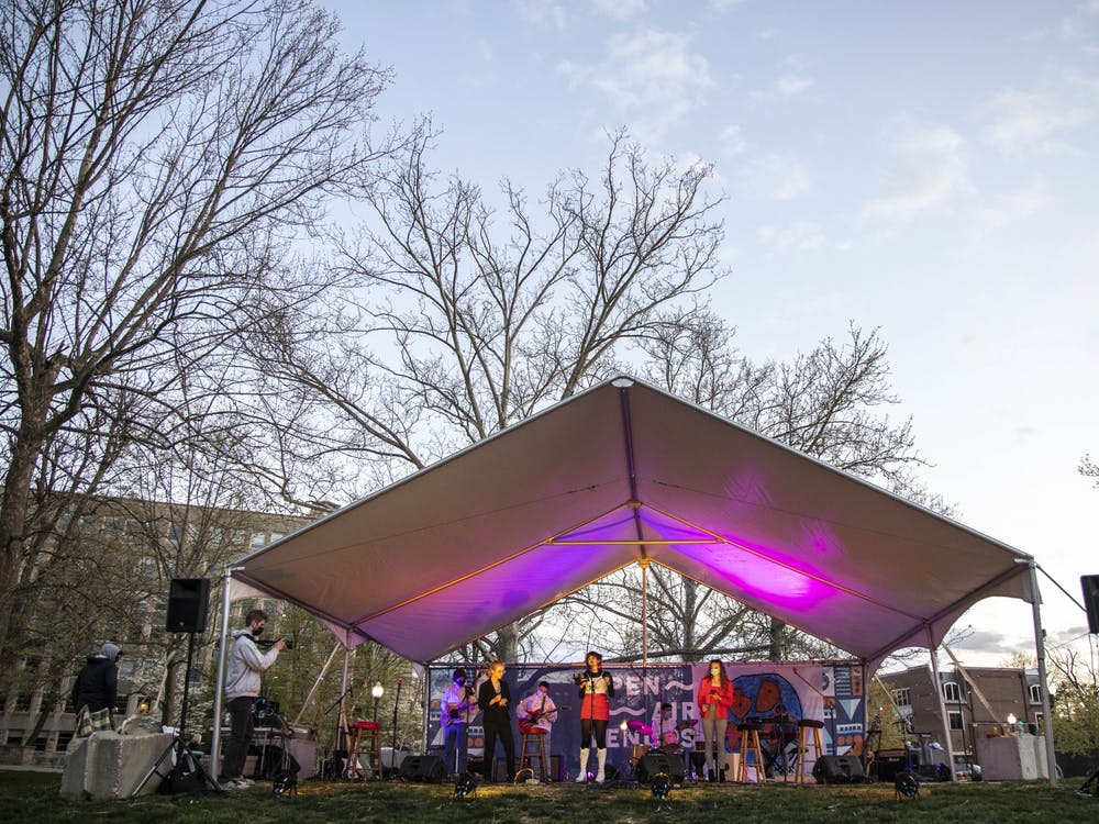 """The Hip-Hop/R&B Channel preforms during the BDMC Presents concert Thursday in Dunn Meadow. The group preformed """"Pink + White"""" by Frank Ocean, among other covers."""