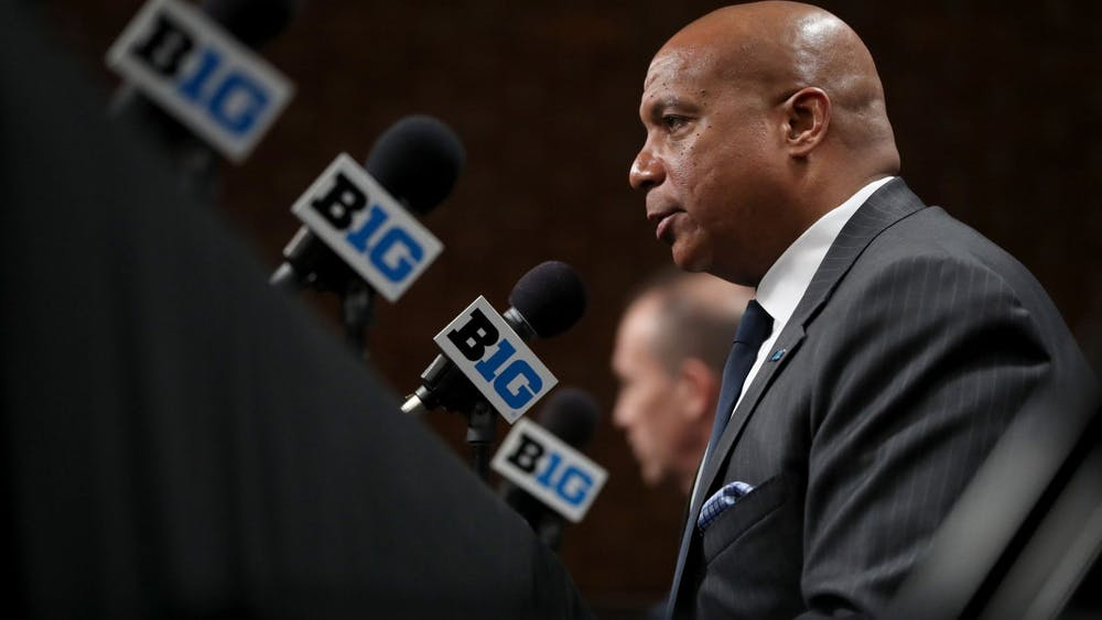Big Ten commissioner Kevin Warren speaks about the cancellation of the men's basketball tournament on March 12, 2020, at Bankers Life Fieldhouse. The alliance will support inter-conference scheduling between the Pac-12, Big Ten and Atlantic Coast Conference.