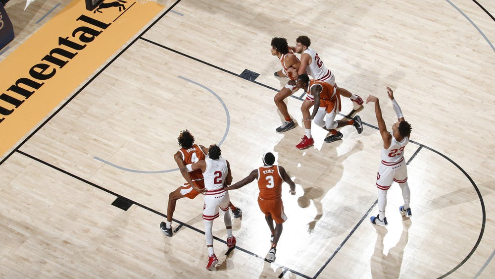 Sophomore Trayce Jackson-Davis attempts a free throw Dec. 1 in the game against No. 17 University of Texas in the semifinals of the Maui Invitational in Asheville, North Carolina. Jackson-Davis scored 17 of IU's 44 points in the loss to No. 17 Texas.