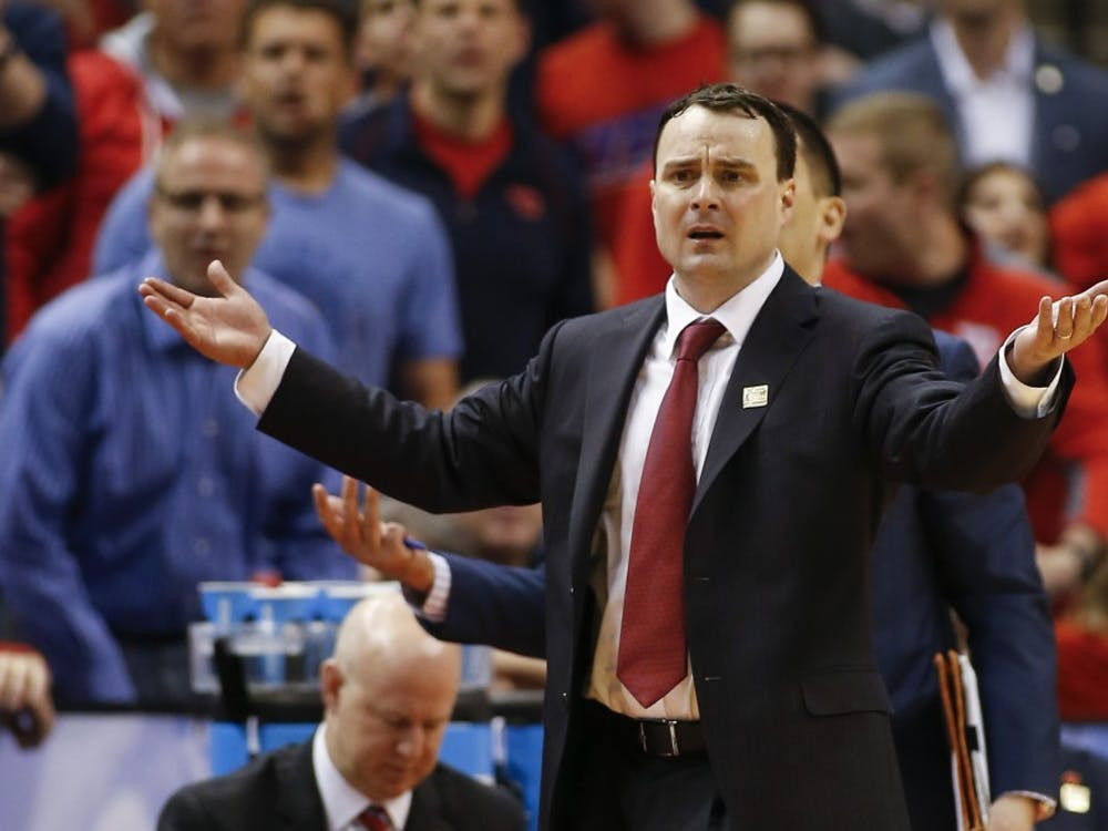Dayton head coach Archie Miller reacts to a call during action against Wichita State in the first round of the NCAA Tournament on Friday, March 17, 2017, at Bankers Life Fieldhouse in Indianapolis. Wichita State advanced, 64-58. (Sam Riche/TNS)