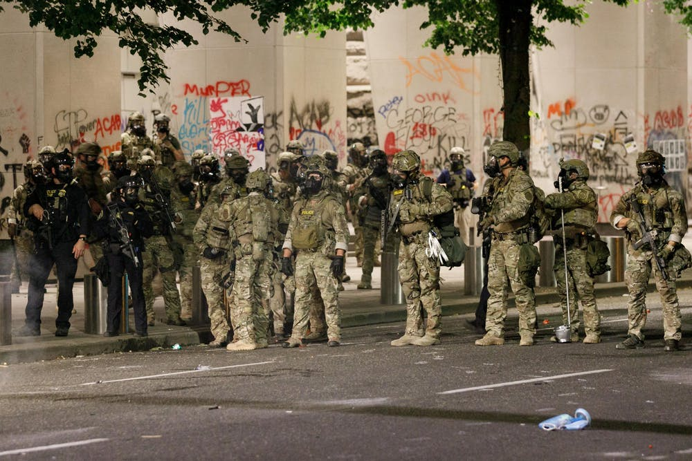 <p>Protesters demonstrate against police brutality for the 50th day in a row on July 16, 2020, at the Federal Courthouse in Portland, Oregon, and are met with tear gas, &quot;less-lethal&quot; munitions and many arrests.</p>