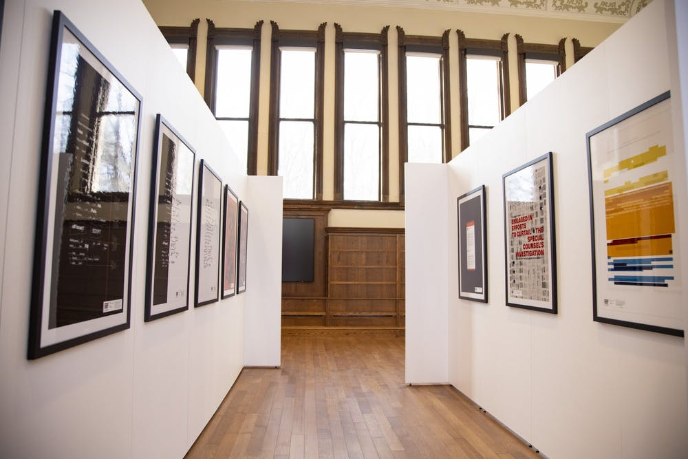 <p>The Ongoing Matter exhibit was shown at IU&#x27;s Cook Center from Feb. 2 to March 12. Originator Anne H. Berry and co-creator Sarah Edmands Martin used their design backgrounds to bring the Mueller report to life.</p>