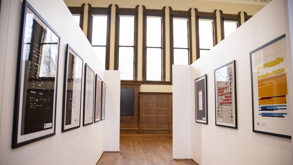 The Ongoing Matter exhibit was shown at IU's Cook Center from Feb. 2 to March 12. Originator Anne H. Berry and co-creator Sarah Edmands Martin used their design backgrounds to bring the Mueller report to life.