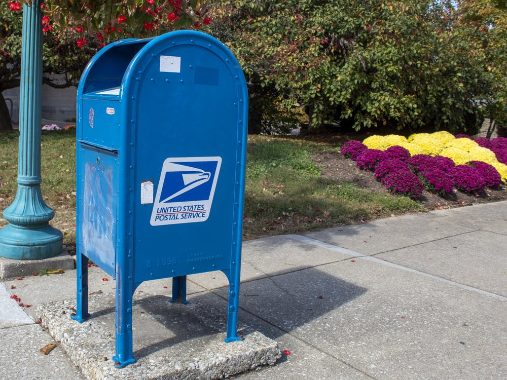 A U.S. Postal Service collection box sits Oct. 11 near the Indiana Memorial Union.