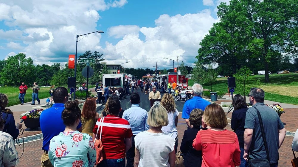 Mayor John Hamilton addresses a crowd on May 31, 2019, at the Dimension Mill for the Bloomington Trades District launch party and ribbon cutting ceremony during Food Truck Friday. After a year-long break due to the COVID-19 pandemic, Food Truck Friday will make a comeback in Bloomington.