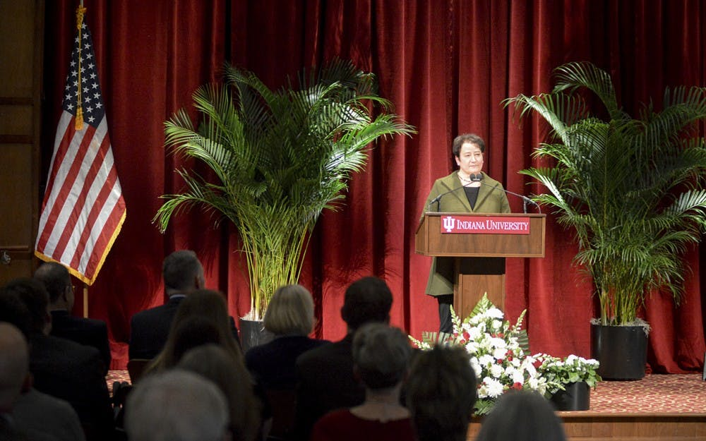 IU Provost Lauren Robel discusses diversity, the common app, and increased enrollment before being interrupted by protestors from Students Against State Violence (SASV) during the State of the Campus address Tuesday evening in President's Hall.