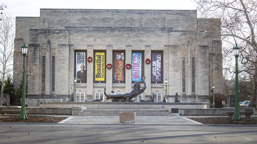 The outside of the IU Auditorium is seen Jan. 9 in the Fine Arts Plaza. The Steinway D Concert Grand Piano will premiere Jan. 22 at IU Auditorium.