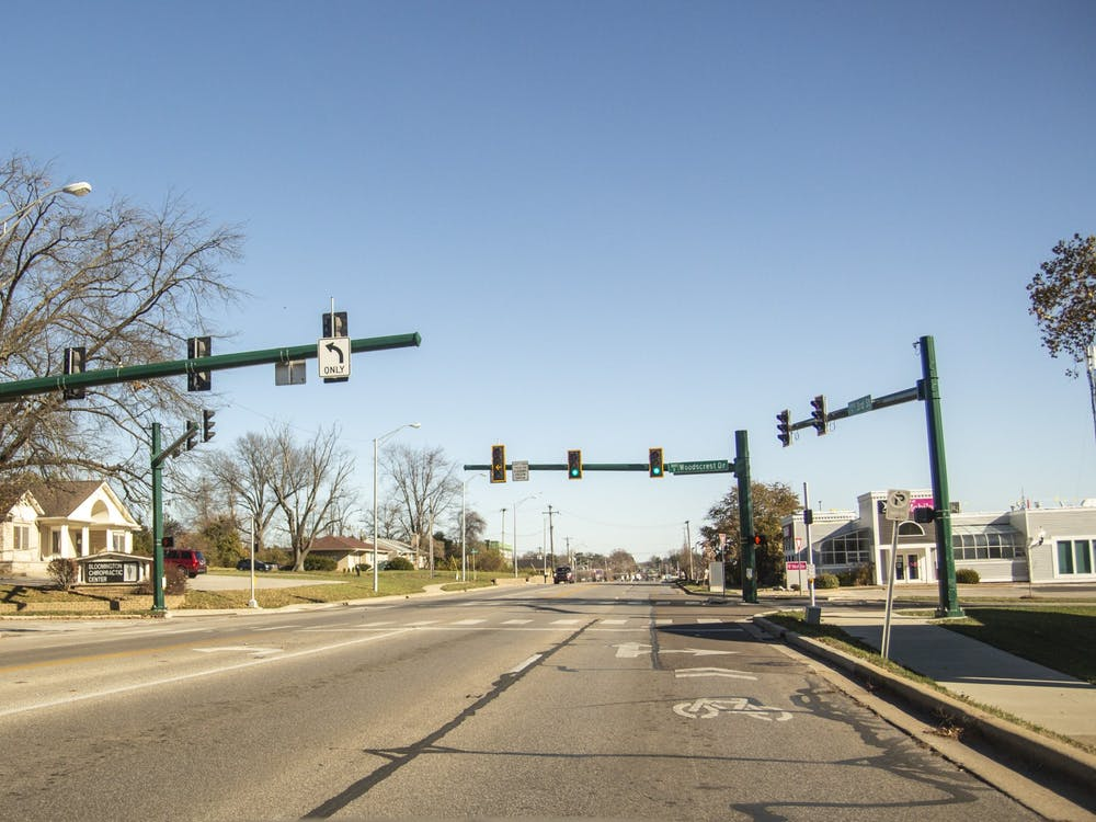 The intersection of Hillsdale Drive and Third Street is seen from the passenger seat of a car Nov. 17.