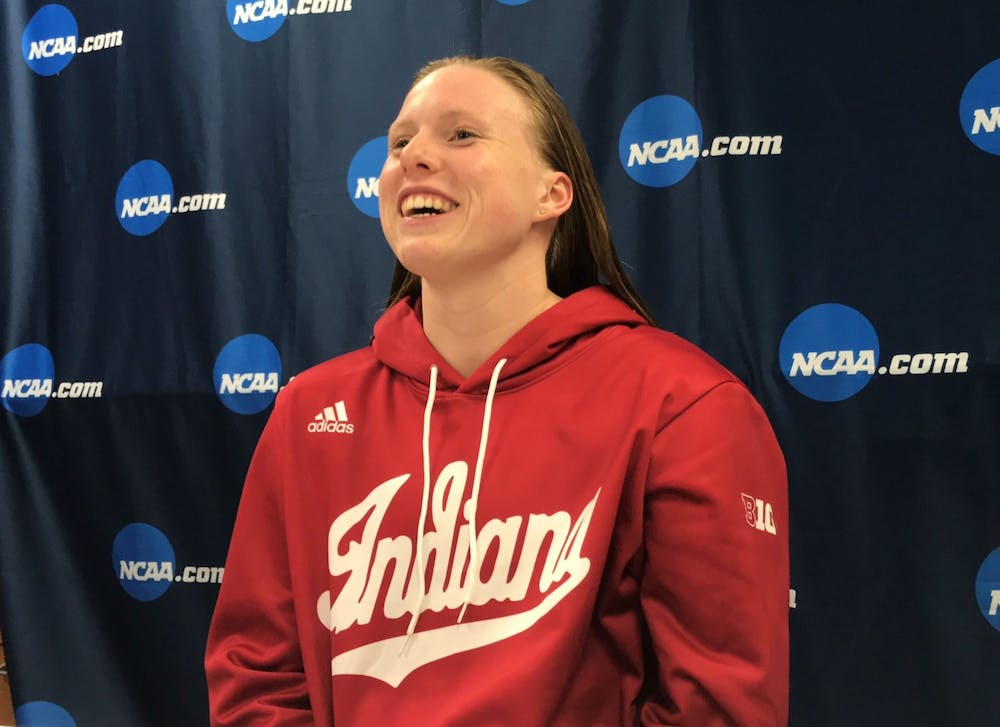 <p>Lilly King talks to the media after winning the 200-yard breaststroke on the final night of the 2019 NCAA Tournament. King is among the IU athletes competing in the Olympics from July-August in Tokyo, Japan. </p>