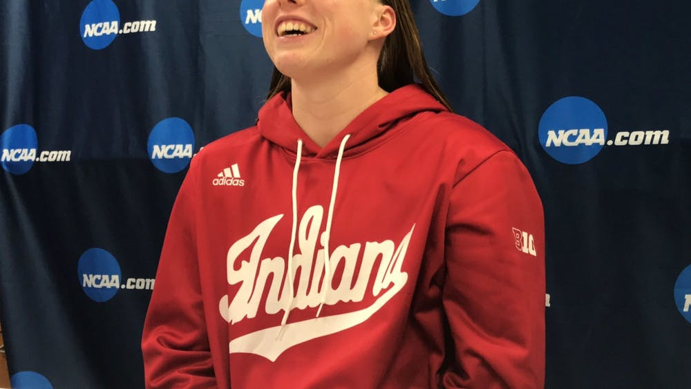 Lilly King talks to the media after winning the 200-yard breaststroke on the final night of the 2019 NCAA Tournament. King is among the IU athletes competing in the Olympics from July-August in Tokyo, Japan.