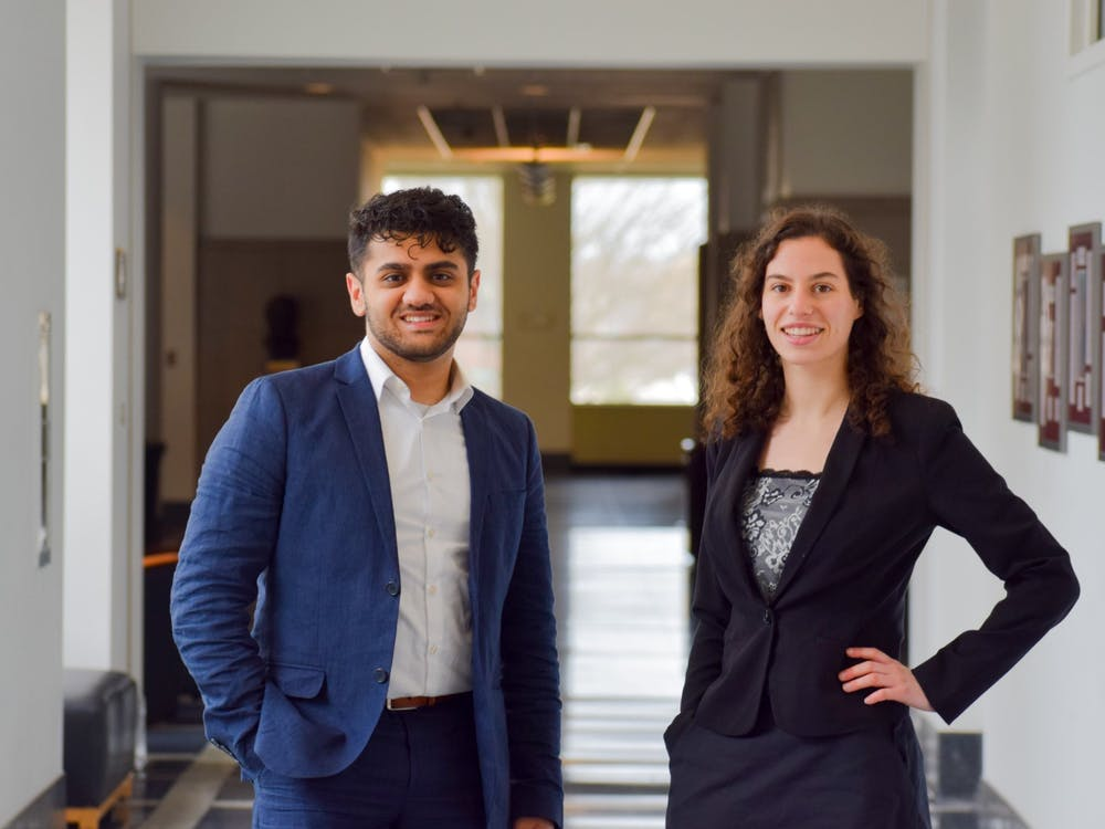 Rachel Aranyi,IU student body president, and Ruhan Syed, IU student body vice president, are pictured. The student body is voting Friday to pass a bill approving 31 new seats that will give multicultural student organizations a voice in the IU Student Congress.