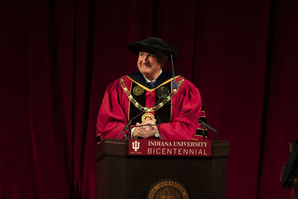 <p>IU President Michael McRobbie delivers welcome and remarks Jan. 20, 2020, in Simon Skjodt Assembly Hall. McRobbie will deliver his final State of the University address at 1:30 p.m. May 4.</p>