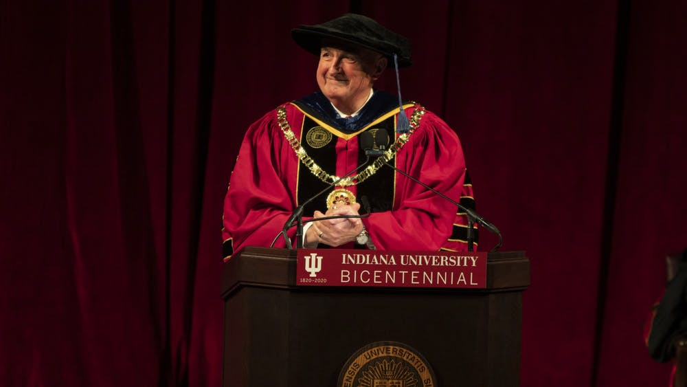 IU President Michael McRobbie delivers welcome and remarks Jan. 20, 2020, in Simon Skjodt Assembly Hall. McRobbie will deliver his final State of the University address at 1:30 p.m. May 4.