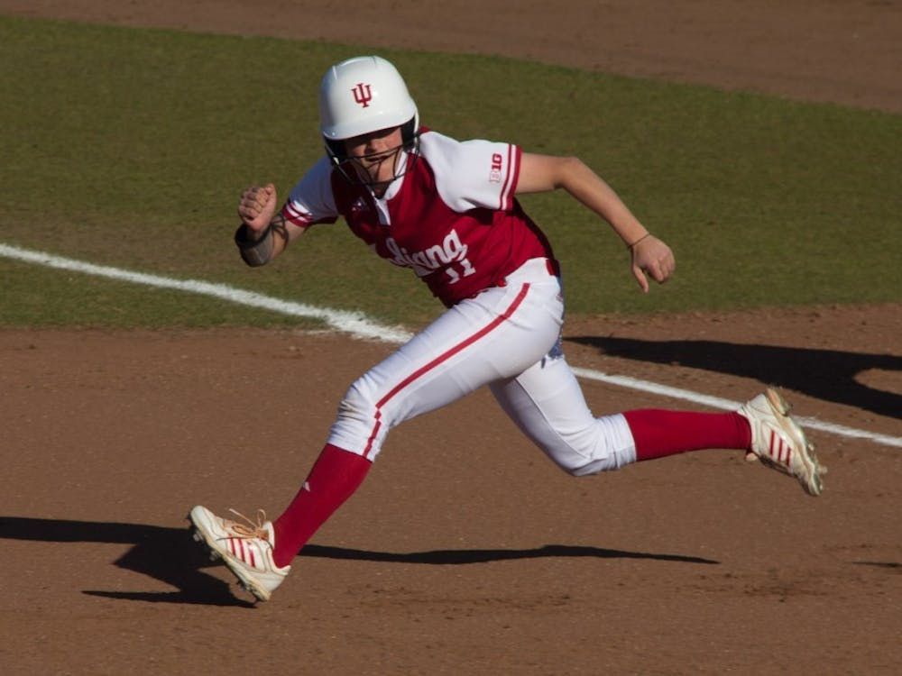 Then-junior Rebecca Blitz, now a senior, runs on the base paths at Andy Mohr Field during a game in the 2017 spring season. IU will face Boston College on Feb. 16 in Atlanta, Georgia.