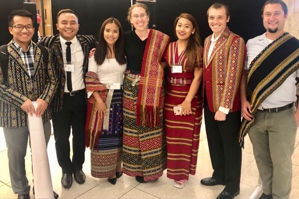 <p>IU linguistics researchers pose for a photo. They have been translating information about the coronavirus into Hakha Lia and the translations are available on the team's website.</p>