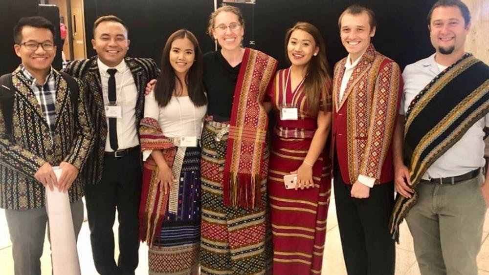 IU linguistics researchers pose for a photo. They have been translating information about the coronavirus into Hakha Lia and the translations are available on the team's website.