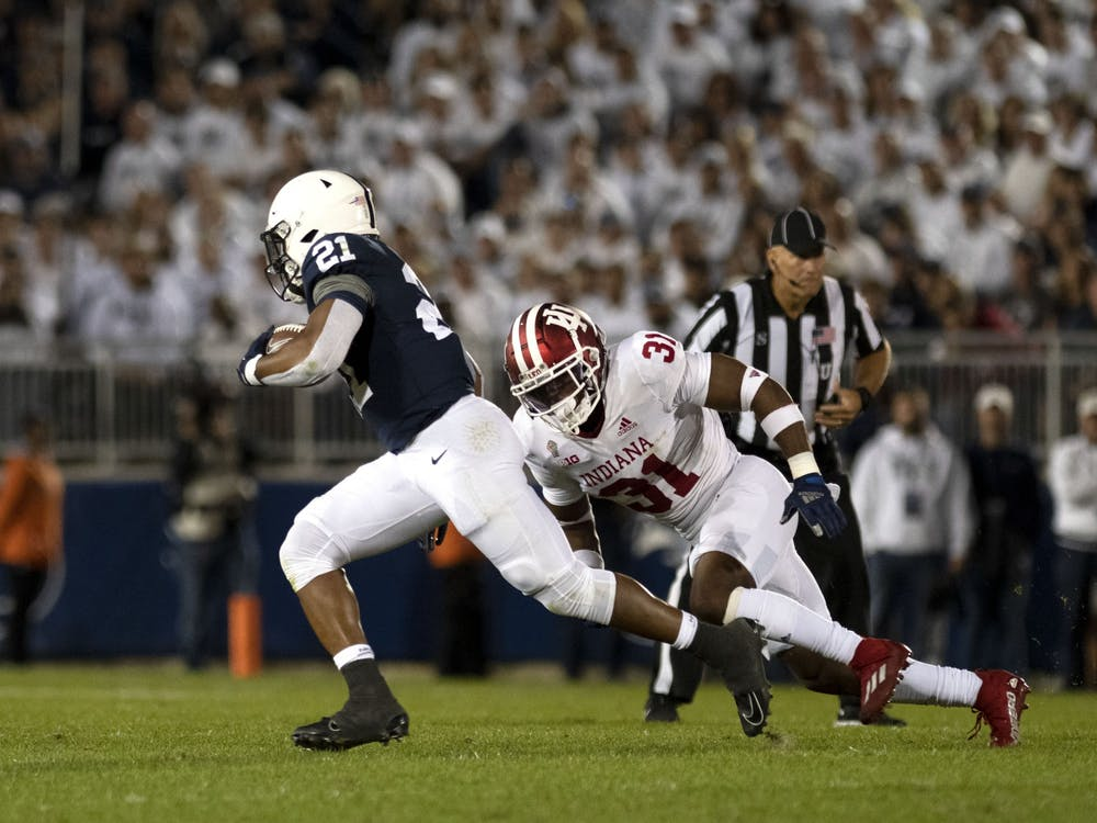 Redshirt senior defensive back Bryant Fitzgerald attempts to make a tackle against Penn State on Oct. 2, 2021, at Beaver Stadium. Indiana lost on the road to Penn State 24-0.