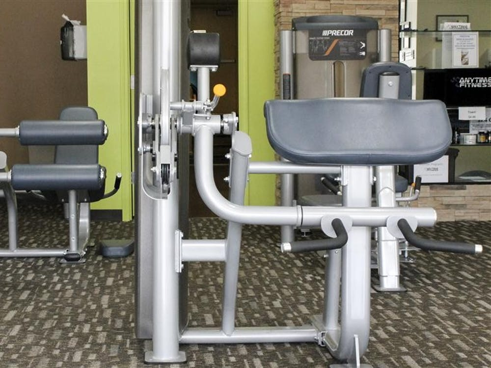 Equipment for strength and cardio training sit in the Anytime Fitness gym on Jan. 11.