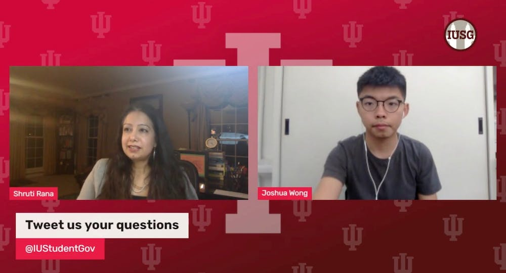 <p>A screenshot shows Joshua Wong, a Nobel Peace Prize nominee, discuss his fight for freedom in Hong Kong on Nov. 1.</p>