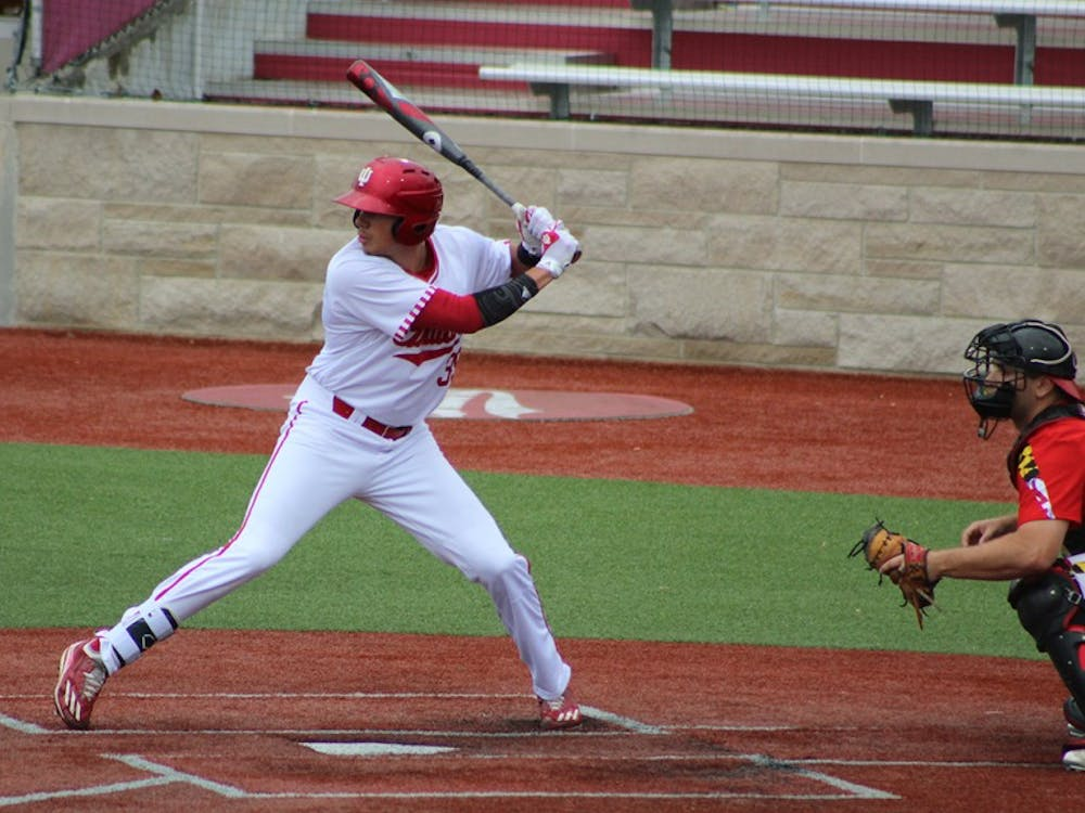 Senior outfielder Craig Dedelow at the plate for his first plate appearance Friday against the Maryland Terrapins. Dedelow is hitting .242 this season and was hitting out of the five-spot against the Terps.
