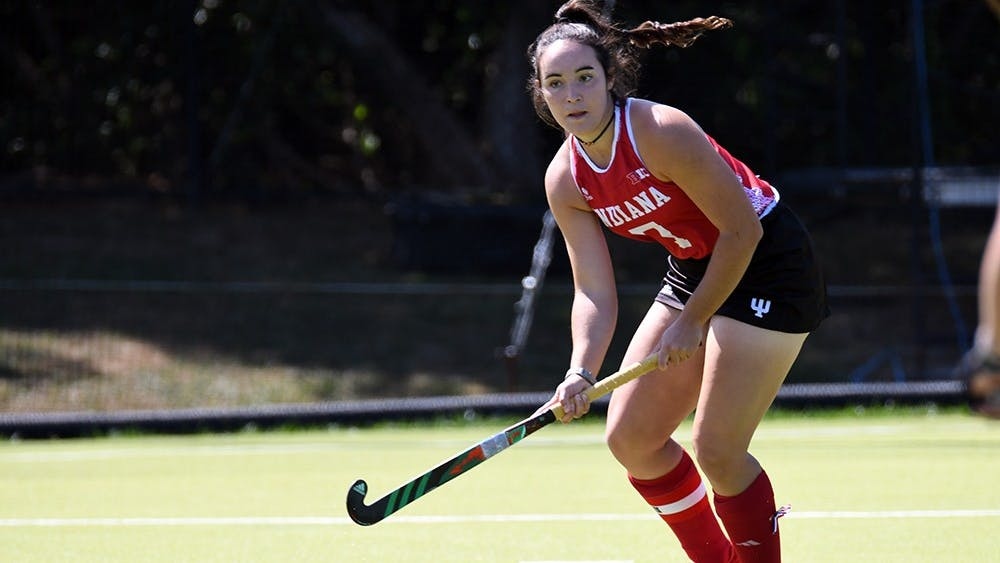 Then-junior defender Nora Aucker passes the ball against Miami (Ohio) on Sept. 10, 2017, at the IU Field Hockey Complex. IU Field Hockey came up winless on its weekend trip to Pennsylvania.