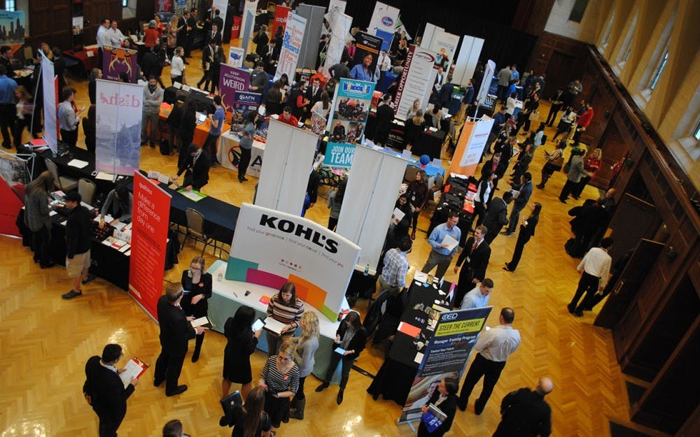 <p>Students attend the Walter Center for Career Achievement 2017 Winter Career + Internship Fair in January 2017 in the Indiana Memorial Union. Nearly 60% of students in 2017 said career goals were their number one reason for attending college</p>