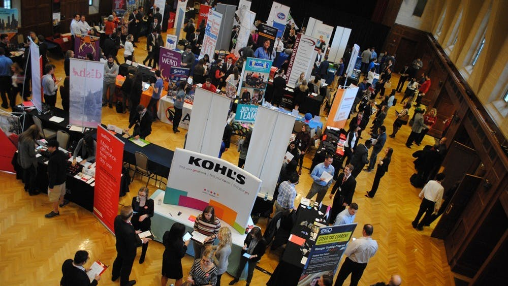 Students attend the Walter Center for Career Achievement 2017 Winter Career + Internship Fair in January 2017 in the Indiana Memorial Union. Nearly 60% of students in 2017 said career goals were their number one reason for attending college