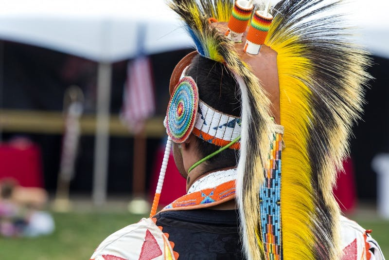 A man stands during the Grand Entry on April 6 at the IU Traditional Powwow in Dunn Meadow. The different styles of dance require different styles of regalia, Bella King said.