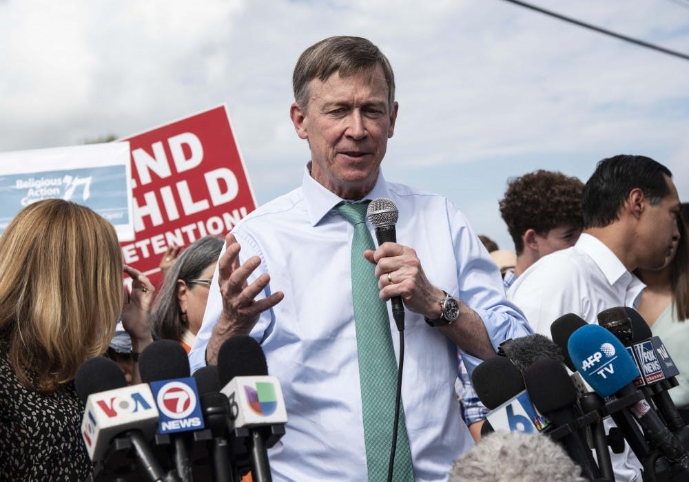 <p>Governor John Hickenlooper (D-Colorado) makes a statement to media June 28 outside of the Homestead Detention Center in Homestead, Florida. On Aug. 15, Hickenlooper announced he was ending his run for President.</p>
