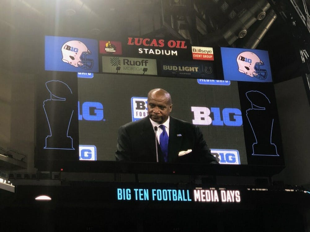 Big Ten Commissioner Kevin Warren appears on the jumbotron during Big Ten Media Days on Thursday in Indianapolis. Warren spoke on NIL, possible College Football Playoff expansion and more during his speech.