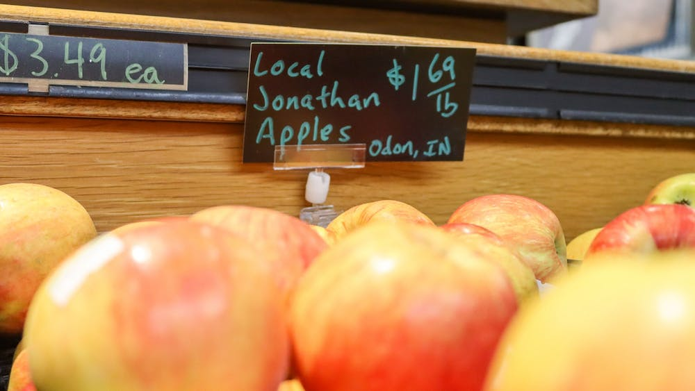 Locally grown apples appear Oct. 18, 2021, at Bloomingfoods in Bloomington, IN. Bloomingfoods sells a wide variety of local and domestic produce.