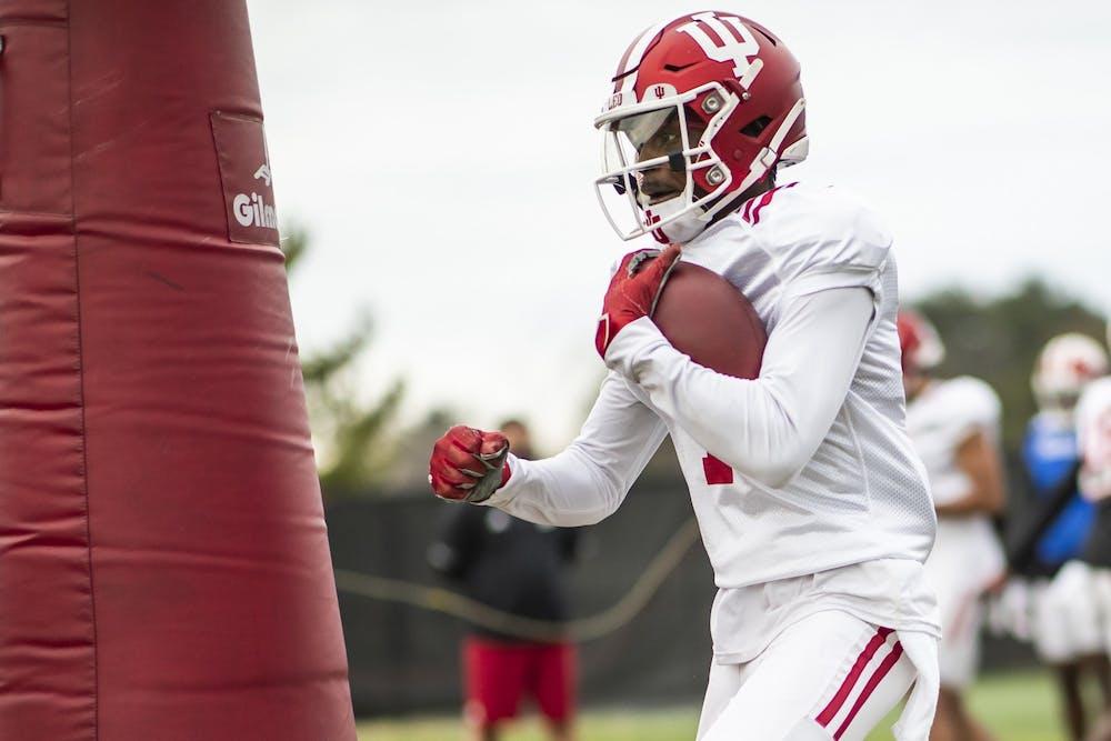 <p>IU freshman wide receiver Jordyn Williams during practice March 23 at Memorial Stadium in Bloomington. Williams attended Trinity Christian School in Cedar Hill, Texas.  </p>
