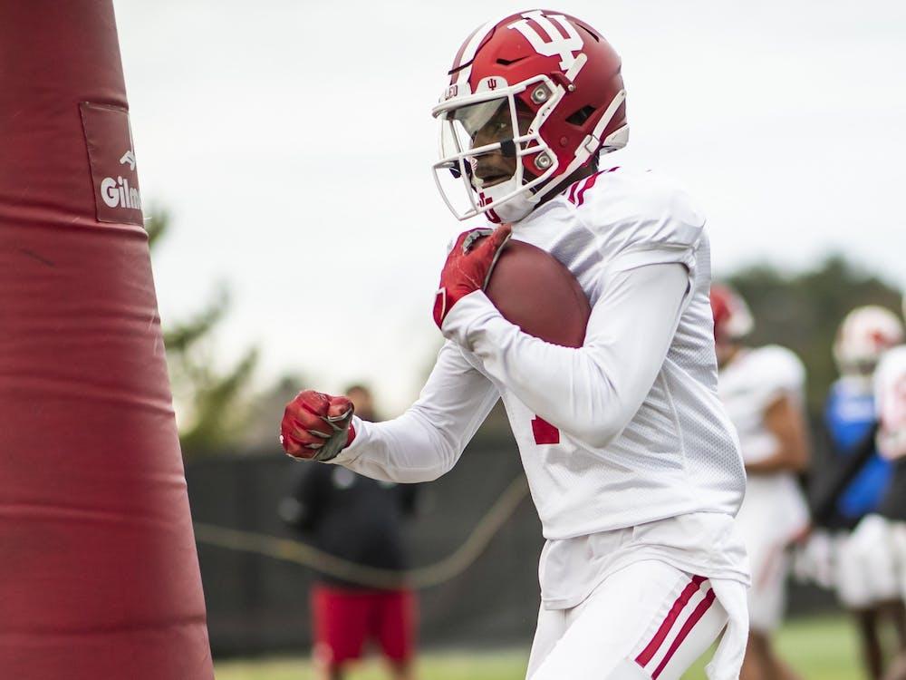 IU freshman wide receiver Jordyn Williams during practice March 23 at Memorial Stadium in Bloomington. Williams attended Trinity Christian School in Cedar Hill, Texas.