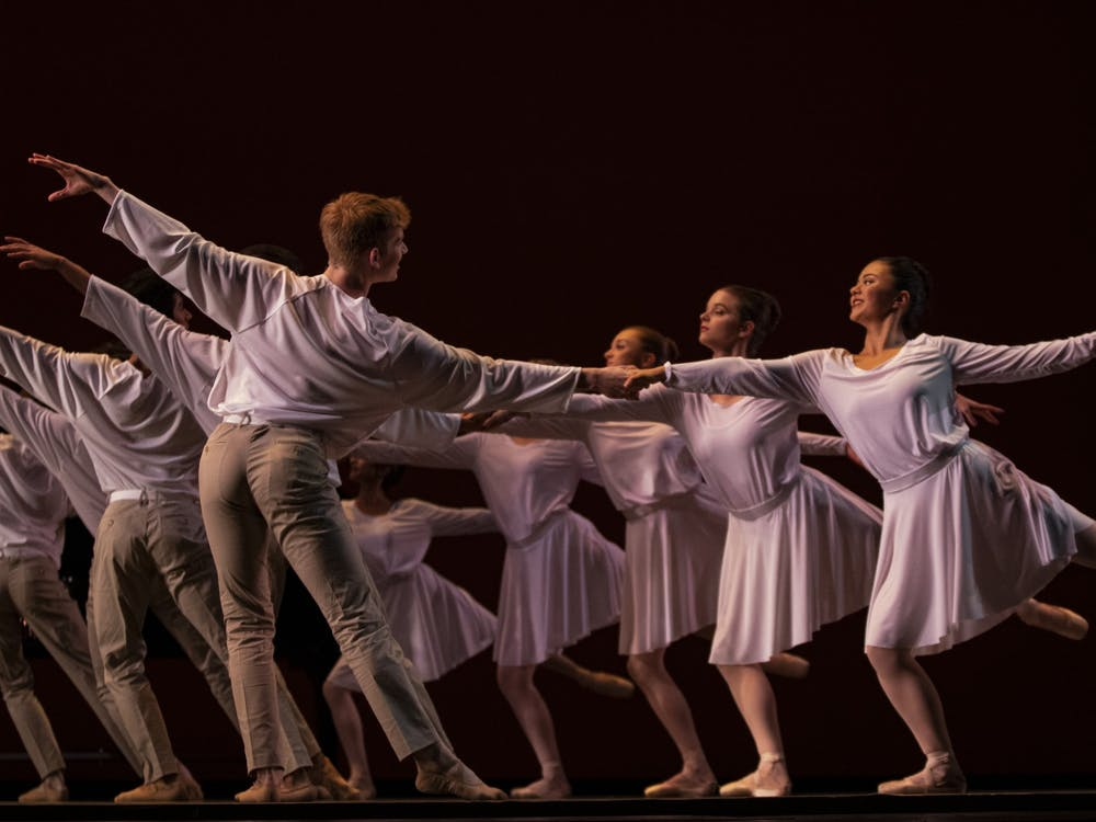 """Rehearsing the last act of the show Oct. 8, 2019, dancers from the Jacobs School of Music Opera and Ballet Theater prepare for their show """"Darks Meets Light."""""""