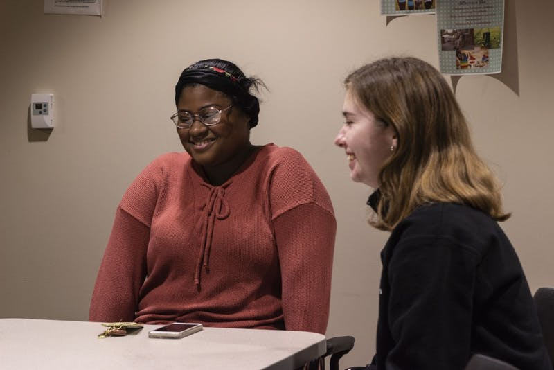 Shauntell Harris and Clara Valentine talk about why they want to become teachers. Both students are education majors who are part of the Inspire Living-Learning Center, a community at IU for future teachers.