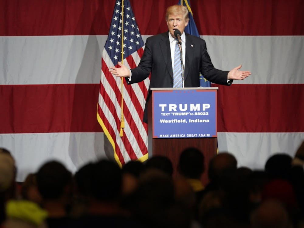 Donald Trump, republican presidential candidate, speaks during a Trump rally in Westfield, Ind. on Tuesday evening.