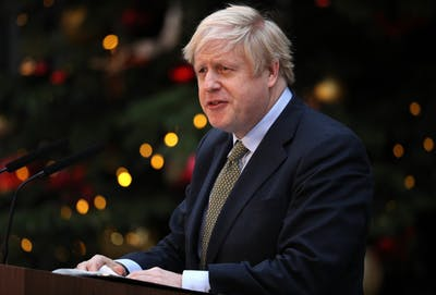 Prime Minister Boris Johnson makes a statement in Downing Street after receiving permission to form the next government during an audience with Queen Elizabeth II at Buckingham Palace on Dec. 13 in London, England.
