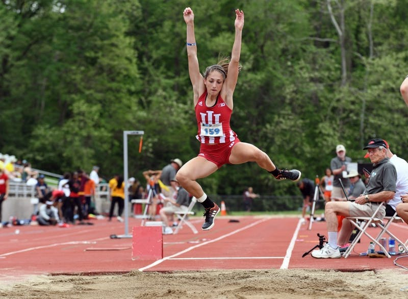 Then-sophomore, now-senior Leah Moran competes in the long jump during last year's Big Ten Outdoor Track and Field Championships at Robert C. Haugh Track and Field Complex. IU will compete at home Jan. 24-25.