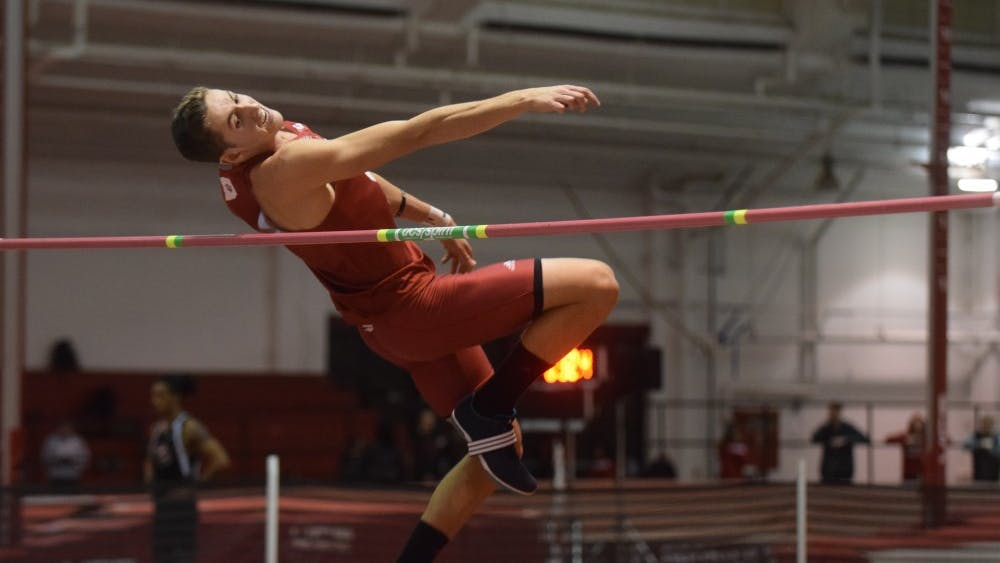 Current junior multi-event athlete Chase Pacheco competes in the high jump as part of the heptathlon in the IU Relays on Jan. 27, 2017, in Harry Gladstein Fieldhouse. Both men's and women's track and field teams competed in the Gladstein Invitational last weekend.
