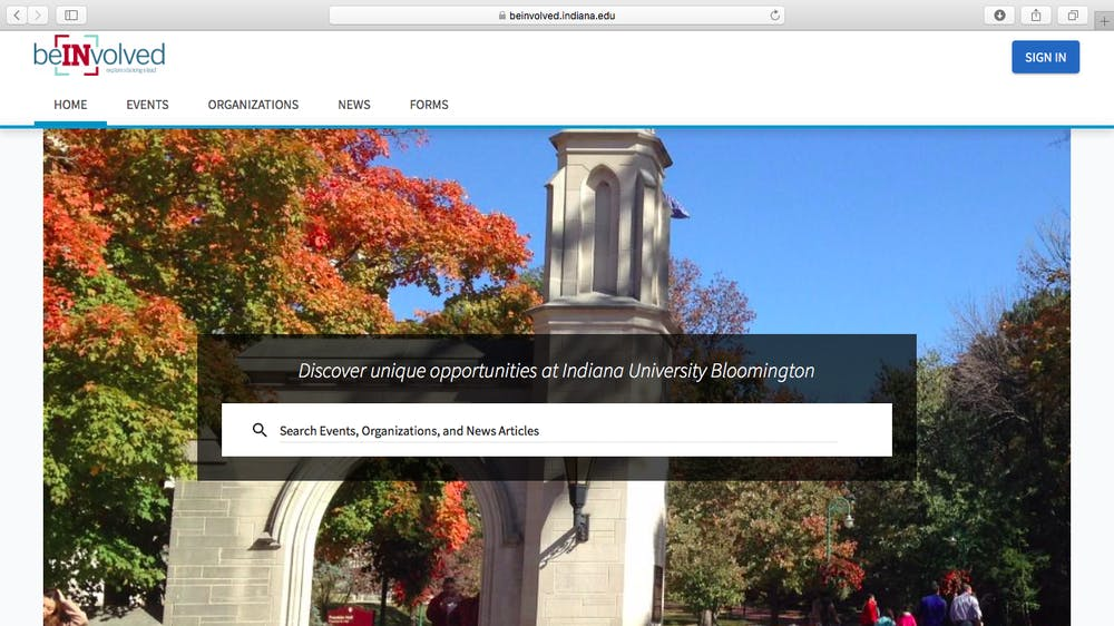 <p>A screen shot from the IU BeInvolved website.</p>