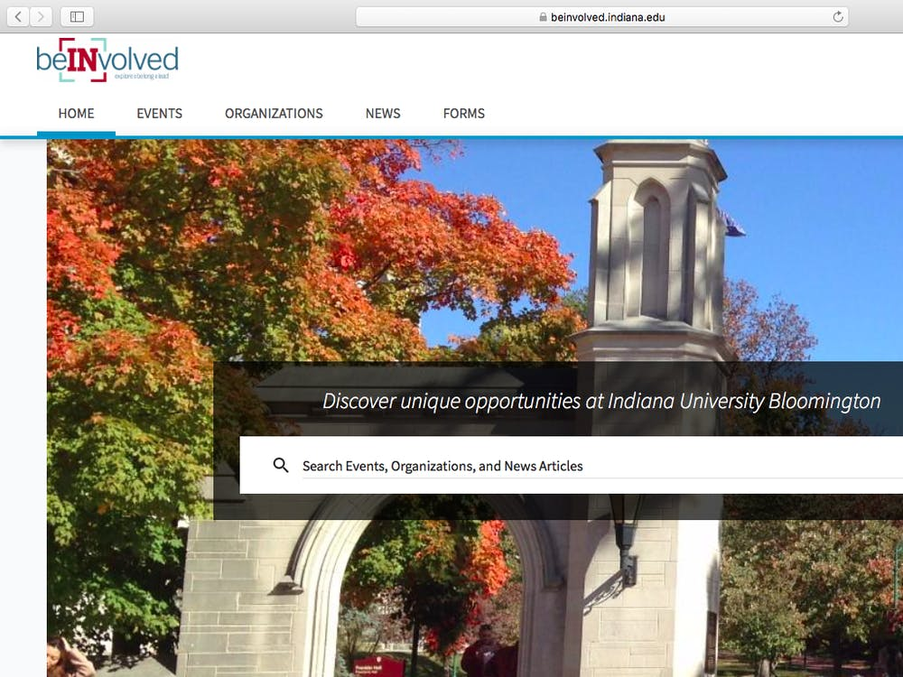 A screen shot from the IU BeInvolved website.