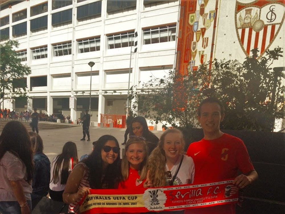 Alyson Malinger and friends attended the Sevilla-Real Betis soccer game Sunday at the Ramón Sánchez Pizjuán Stadium. Sevilla beat Real Betis 2-0 adding to the two team's rivalry.
