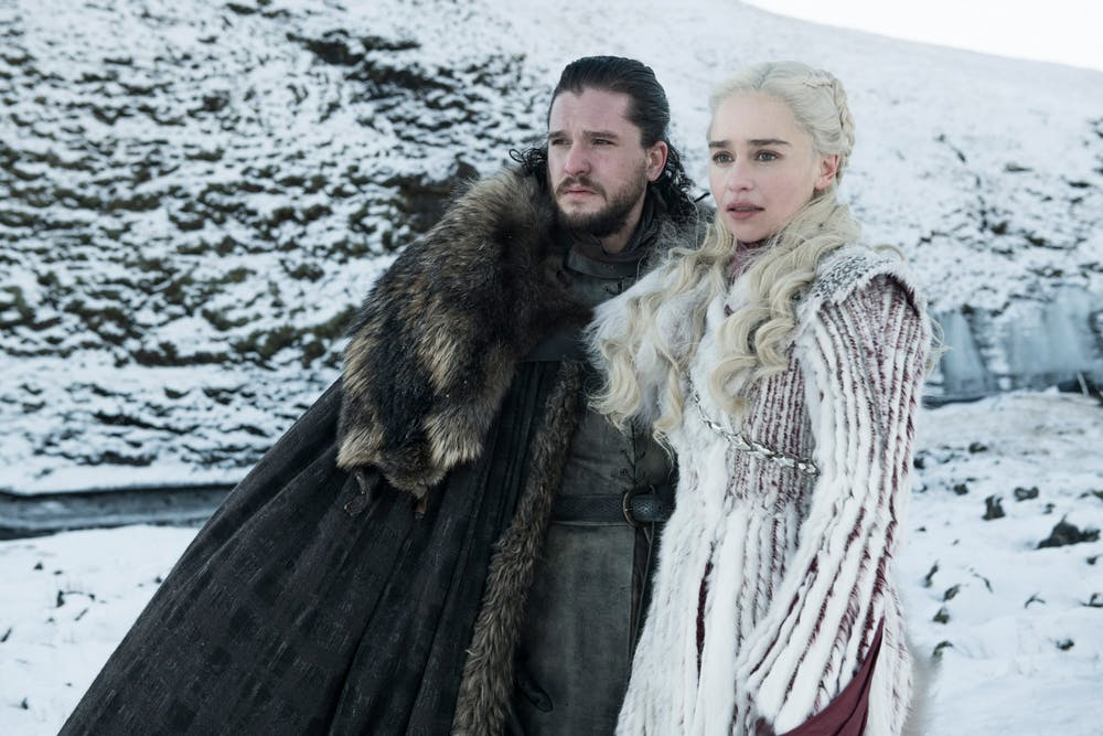 <p>Jon Snow, played by Kit Harington, and Daenerys Targaryen, played by Emilia Clarke, stand alongside one another in a scene from &quot;Game of Thrones.&quot;</p>